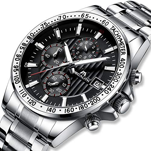 Relojes Hombre Relojes de Pulsera Deportivos Militar Cronografo Impermeable Negro Reloj de Acero Inoxidable Fecha Luminosos Analógico Negocios Diseñador
