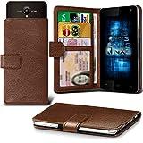 (Brown) Allview P5 Energy Hülle Abdeckung Cover Case schutzhülle Tasche Verstellbarer Feder Mappe Identifikation-Kartenhalter-Kasten-Abdeckung ONX3