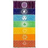 YiyiLai Serviette de Plage Hippie Tapisserie Couverture Nappe Frange 145 * 70cm Echarpe Yoga