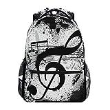 QMIN Rucksack, Vintage-Musiknotenmuster, für Schule, Büchertasche, Reisen, College, Tagesrucksack, Laptop, Reißverschluss, Wandern, Camping, Schultertasche für Jungen Mädchen und Herren