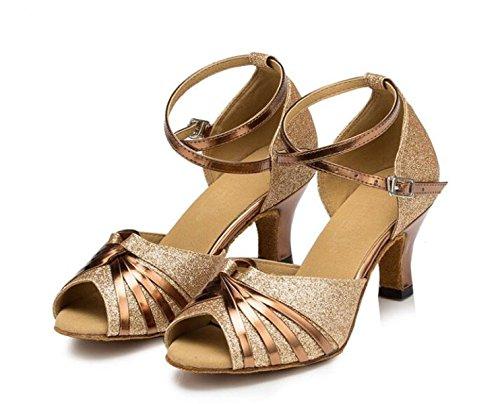 JSHOE Sandales pour Femmes Super Satin avec des Chaussures De Danse Scintillantes Scintillantes Satin/Tango/Chacha/Samba/Moderne/Chaussures De Jazz Sandales Talons Hauts