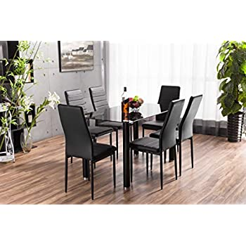 Lunar Rectangle Glass Dining Table Set And 6 Black Faux Leather Chairs Seats Part 91