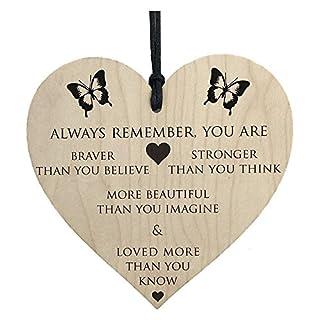 Booming Sie sind tapferer Stärker, intelligenter und schöner hölzerner hängender Herzfreunde Bester Wunsch für Familienfreunde (Khaki)