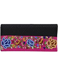 Literacy India Indha Hand Embroidery Work Clutch Purse For Women In Black Color