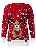 LCL-Damen Frauen Unisex Strickpullover Weihnachten Santa Rudolph Rentier Pullover Größe 36-42 (M-L (40-42), ROT)