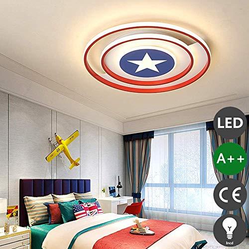 Lámpara de techo LED Regulable Luz blanca cálida Luz de techo Vivero Dormitorio Sala de estar Comedor Aplique Niña Niño Capitán América Escudo Lámpara Anillos redondos Luminaria de techo, Oslash; 50 *
