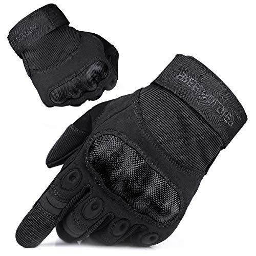 FREE SOLDIER Outdoor Handschuhe Herren Motorradhandschuhe Taktische Trainings Militär Kletter Handschuhe Vollfinger Gloves zum Wander Klettern Motorrad Fahrrad Radsport Arbeiten (L, Schwarz)