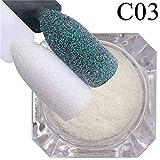 Heaviesk 1 Caja Brillo de uñas Glitter Sugar Powder Glimmer DIY Nail Art Decoraciones Holográficas Polvo Hojuelas de uñas