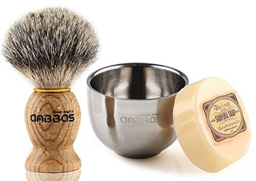 Anbbas Herren Rasierset, Rasierpinsel aus Dachshaar und Edelstahlschüssel für Traditionelle Rasur