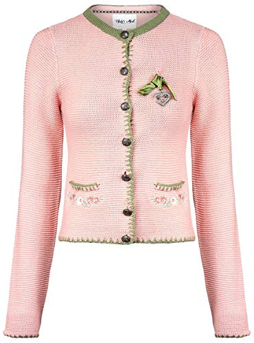 Hailys Damen Trachten Strickjacke Oktoberfest mit Stickerei Rose XL