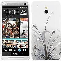 kwmobile Custodia di lusso in strass per HTC One Mini M4 Design erba grigio nero (Sostituzione Erba)