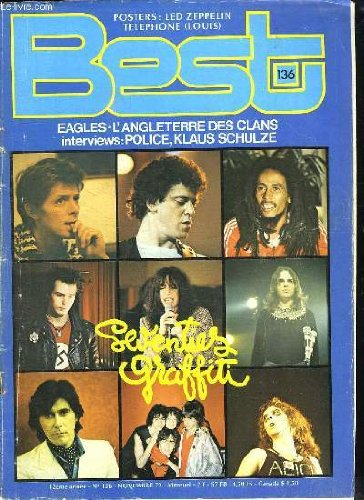 BEST N° 136. SOMMAIRE: DAVID BOWIE. LOU REED. BOB MARLEY. SID VICIOUS. PATTI SMITH...