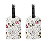 COOSUN English Bulldog Luggage Tags Travel Labels Tag Name Card Holder for Baggage Suitcase Bag Backpacks, 2 PCS