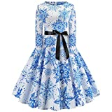TIFIY Weihnachtskleid, Vintage Faltenrock Kleider Abendkleid Print Langarm A Line Swing Abendkleid aus Jersey(Blau,EU:32)