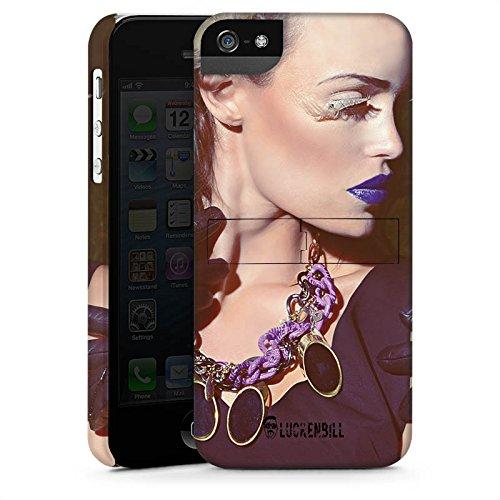 Apple iPhone 5s Housse Étui Protection Coque Femme Femme Rouge à lèvres CasStandup blanc