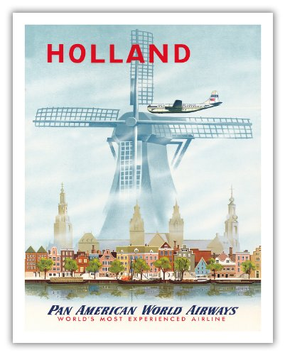 Pacifica Island Art Holland - Niederlande Holländische Windmühle - Pan American World Airways (PAA) - Vintage Airline Travel Poster 1951 - Fine Art Print 11