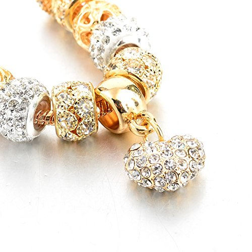 Long Way Gold Plated Love Series CZ Crystal Beads Peach Heart Charm Extension Chain Bracelet for Ladies cAjgZjNX