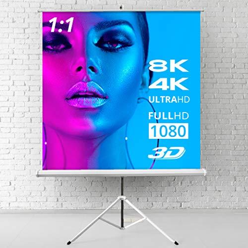ULTRALUXX - Mobile Stativleinwand 240x240 cm, 133 Zoll, lichtdichtes Leinwandtuch weiß matt, als Heimkino Beamer-Leinwand oder für das Büro mit Stativ, Beamerleinwand für alle Projektionsformate