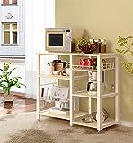 sogesfurniture 3+3 Ablage Küchenregal Standregal Mikrowellenhalter Bäcker Regal, Stabil Metallregal Haushaltsregal Küchenregallagerung platzsparend, W5S-MO-BH