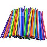 Kobwa(TM) 50pcs Flexible Disposable Drinking Straw Random Color With Kobwa's Keyring