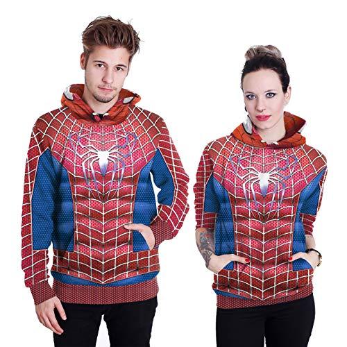 Familie Für Einzigartige Kostüm Ideen - Cosplay Spiderman Langarm Sweatshirt Unisex Hoodies Realistische 3D Pullover, Kapuzenpullover Jacke Mit Taschen,Rot,M