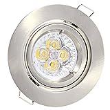 LED Einbaustrahler schwenkbar 4W warmweiss 230V GU10 edelstahl-gebürstet