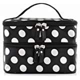 SODIAL(R) Black Travel Cosmetics Make Up Bags Beauty Womens Organiser Toiletry Purse Handbag Polka Dots Design...
