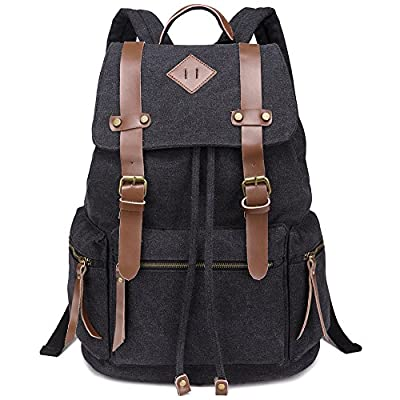 GIM Vintage Canvas Backpacks Mens Rucksacks Unisex Leather Casual Bags Shoulder Backpack for College School Travel Hiking - casual-daypacks