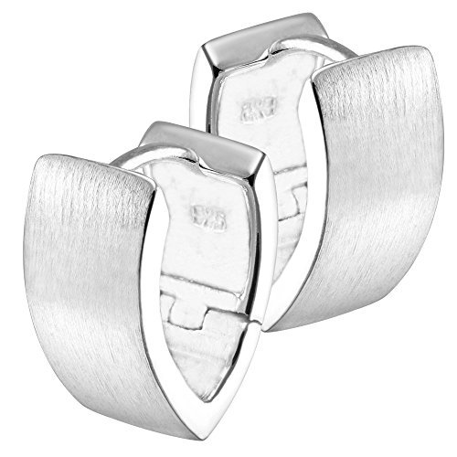 Vinani Klapp-Creolen V-Form breit mattiert Sterling Silber 925 Ohrringe CJC