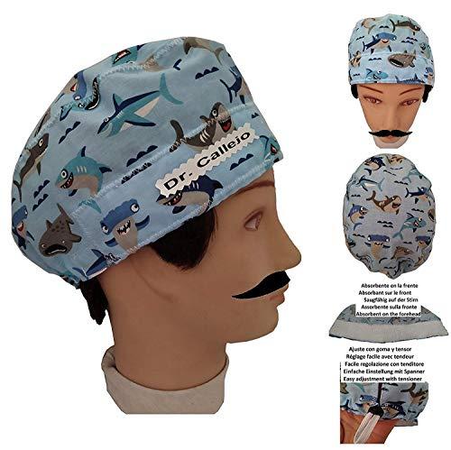 OP-Haube Haie kurze haare Chirurg Zahnarzt Tierarzt Kochen Saugfähiges Handtuch auf der Stirn. Nach Ihren Wünschen einstellbar. Benutzerdefiniert mit freiem Namen