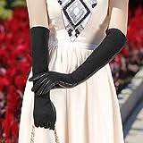 YWANM Señora caliente en otoño e invierno guantes de serraje largo codos largos crispados pluma guantes de cuero de piel de oveja . l