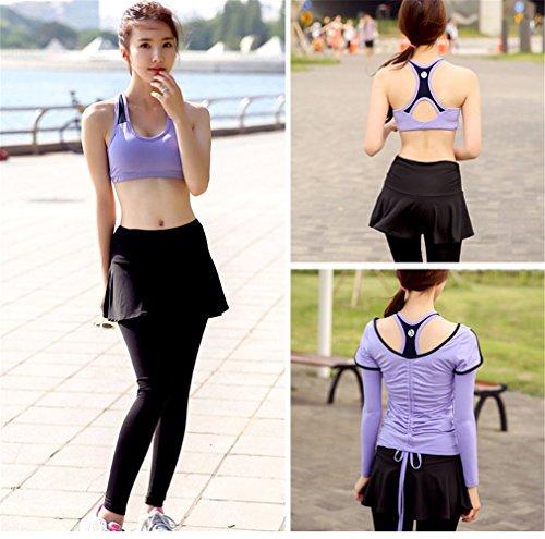 REALLION Set da yoga 3 pezzi donna (T-shirt a manica corta + reggiseno sportivo + pantaloni sportivi) Abbigliamento sportivo ad asciugatura rapida Viola