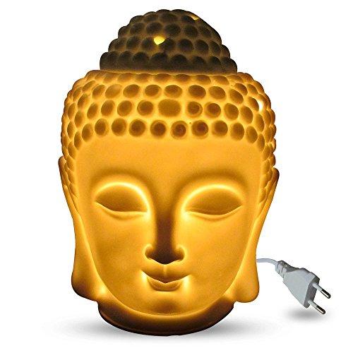 Jaz Deals Electric Ceramic Large Buddha Idol Aroma Diffuser White With Heat Regulator FREE One Mini OLIYA Essential Oil Sample