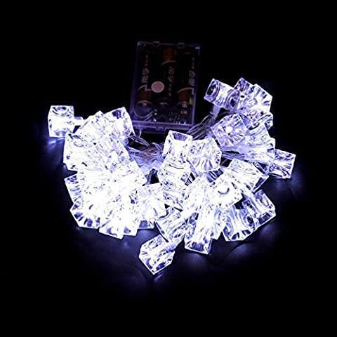 Ice Cube LED String Lights,420cm 40Pcs Omiky® Xmas DIY Glow Ice BrickFairy Rattan Rope Lights Striking Backdrops for Christmas Garden Party (White)