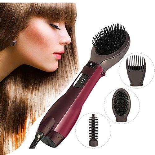 Cepillo de aire caliente 1000W 3 en 1 y estilo para secado, Cepillo secador de pelo giratorio Soplo de pelo + Rizador de peine + Cepillo de masaje de pelo (UE)