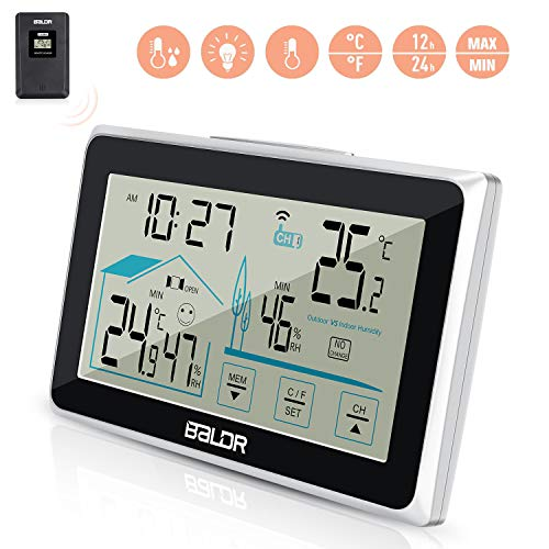 Jovego wetterstation mit Außensensor Innen Außentemperatur und Luftfeuchtigkeit Digitale Thermometer-Hygrometer Universal Weather Station Uhr Date mit LED Touchscreen