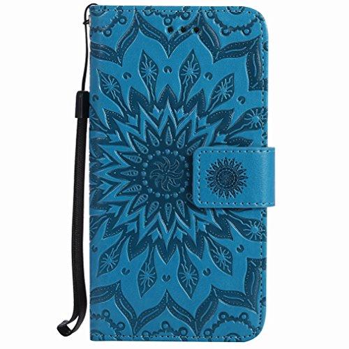 Yiizy Handyhülle für Huawei Ascend P7 Hülle, Sonnenschein Entwurf PU Ledertasche Klappe Beutel Tasche Leder Haut Schale Skin Schutzhülle Cover Stehen Kartenhalter Stil Bumper Schutz (Blau)