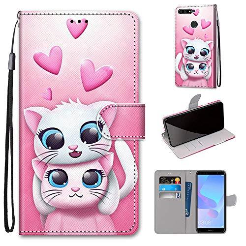 Miagon Flip PU Leder Schutzhülle für Huawei Y7 2018,Bunt Muster Hülle Brieftasche Case Cover Ständer mit Kartenfächer Trageschlaufe,Katze Liebhaber
