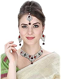 Aradhya Traditional Party Wear Kundan Necklace Set With Earrings And Maang Tikka For Women And Girls
