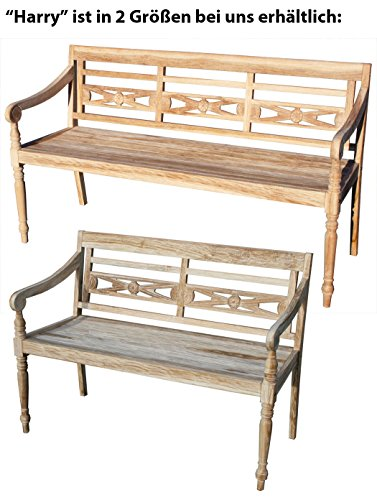 "KMH®, Teak 2-sitzer Gartenbank ""Harry"" (115 cm) im Shabby Chic Stil – whitewashed (#102142) - 3"