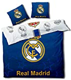 Real Madrid Football - Parure de lit Double - Housse de Couette 220 x 240 cm Taies 63 x 63 cm