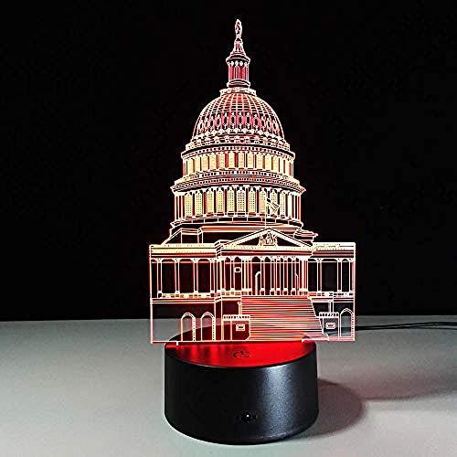 3D Acryl LED Nachtlicht Architekturmodell 7 Farbe Fernbedienung Touch Schalter Dekoration Kinderzimmer Weihnachtsgeschenk USB