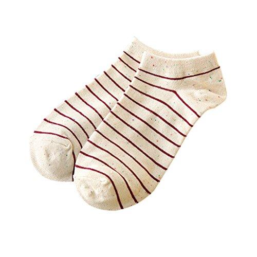 QHGstore Frauen Mädchen Streifen nette kurze Socken nicht Beleg Baumwolle Socken Low Cut Socken rot (Gestreifte Low-cut-socken)