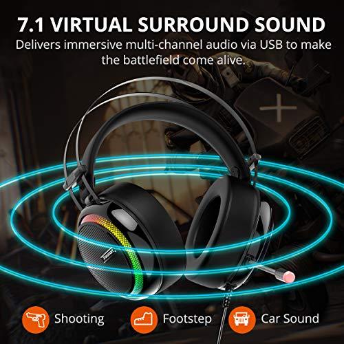 Tronsmart Auriculares Gaming para PS4 con Micrófono Diadema LED- glary- Cascos Gaming Sonido Envolvente 7.1- Aislante de Ruidos- Audio de Alta Definición Potentes Bajos- Headset para Nintendo Switch Gamer
