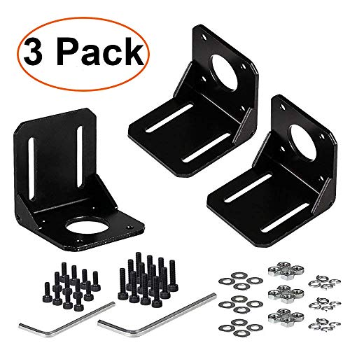 TopDirect 3 Pack Nema 17 Soporte de Montaje para 42mm Motor Paso a Paso + 12pcs Tornillos M3 / M4 + 12pcs arandelas + 2pcs Llave hexagonal