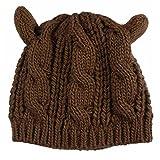 Gorros, Kfnire sombrero de oído de gato - las mujeres de cáñamo caliente orejas flores de cáñamo sombrero de punto (café)
