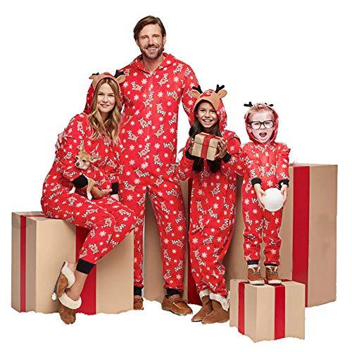 Weihnachten Schlafanzug Familien Outfit Mutter Vater Kind Baby Pajama Langarm Nachtwäsche Deer Print Sleepwear Overall Jumpsuit Mit Kapuze Casual Zipper Hoodie ()