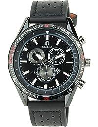 BELLOS - Herren Armbanduhrschwarz Quarz Stahl Datum Analog Display Typ stilvoll Sport Modus Armband schwarzKunstleder