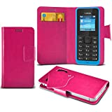 (Hot Pink) Nokia 105 Super dünne Kunstleder Saugnapf Wallet Case Hülle mit Credit / Debit Card SlotsBy Spyrox