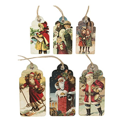 Sass Belle & étiquettes cadeaux Motif Noël Vintage & de Noël Père Noël et scène x 30